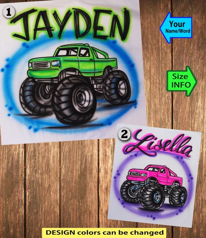 390151e10 Airbrushed Monster Truck Custom T-shirt Baby Bodysuit | Etsy
