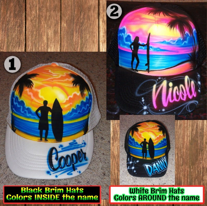 050c1ee90 Airbrushed Custom Trucker Hat Beach and Surf Design * Adult or Youth *  Black or White Snapback Cap * With Your Name * Your Favorite Colors