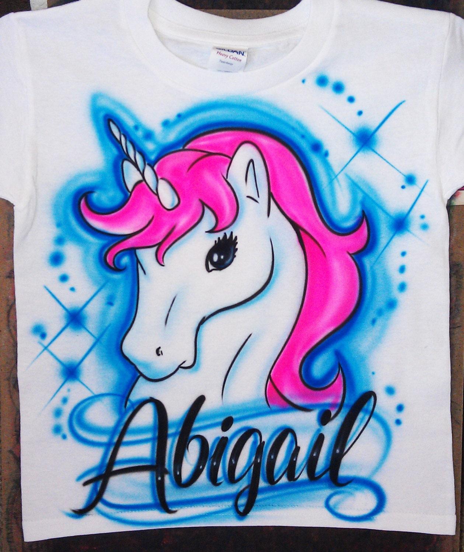 Airbrushed Unicorn Horse Custom T Shirt Baby Bodysuit Etsy