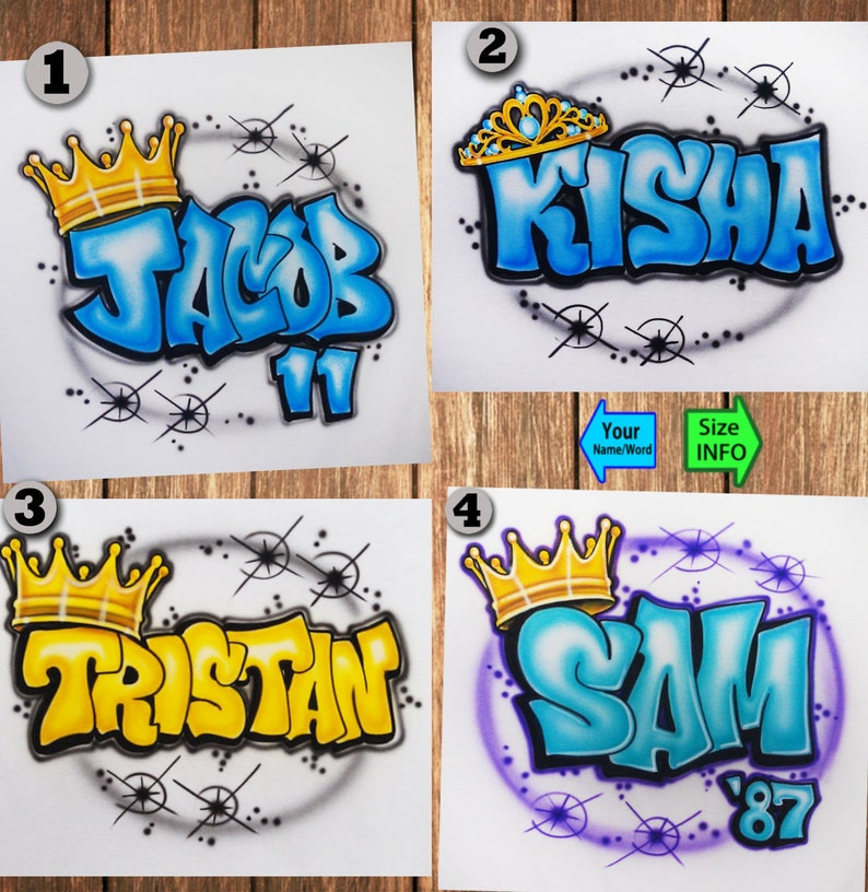 93a2c80da Airbrushed Graffiti King Queen Crown Tiara Name Custom T-shirt | Etsy