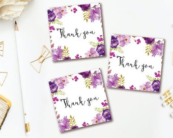 Purple Floral Thank You Tags - Party Favor Tag -  Watercolor Floral Thank You Stickers - INSTANT DOWNLOAD