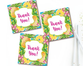 Hawaiian Thank You Tags - Tropical Pineapple Favor Tag - Luau Thank You Sticker - Birthday - Baby Shower - Bridal Shower- INSTANT DOWNLOAD