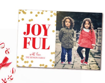 JOYFUL Christmas Photo Card - Red and Gold Confetti Holiday Card - Printable