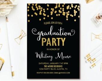 Black white stripe graduation invitation floral graduation confetti graduation party invitation black white gold graduation invitation printable invite filmwisefo