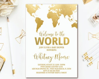 World Map Baby Shower Invitation - Welcome to the World - Adventure Awaits Shower Printable Invite