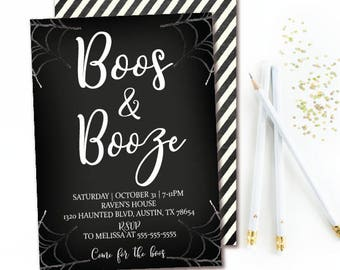 Boos & Booze Halloween Invitation - Chalkboard Halloween Party - Black and White Stripe - Watercolor Spider Webs Printable Invites