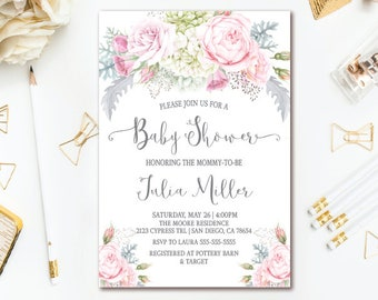 Pink & Gray Baby Shower Invitation - Floral Girl Baby Shower - Printable Invites