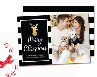 Black & White Stripe Deer Holiday Photo Card - Modern Black and Gold Christmas Card - Printable
