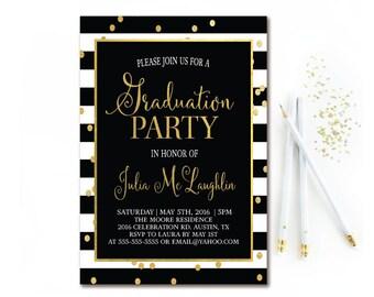 Black white stripe graduation invitation floral graduation etsy black white stripe graduation party invitation black white and gold graduation invite confetti graduation invitation printable filmwisefo