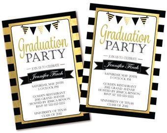 Black white stripe graduation invitation floral graduation etsy black white stripe graduation party invitation black white and gold graduation invite printable filmwisefo