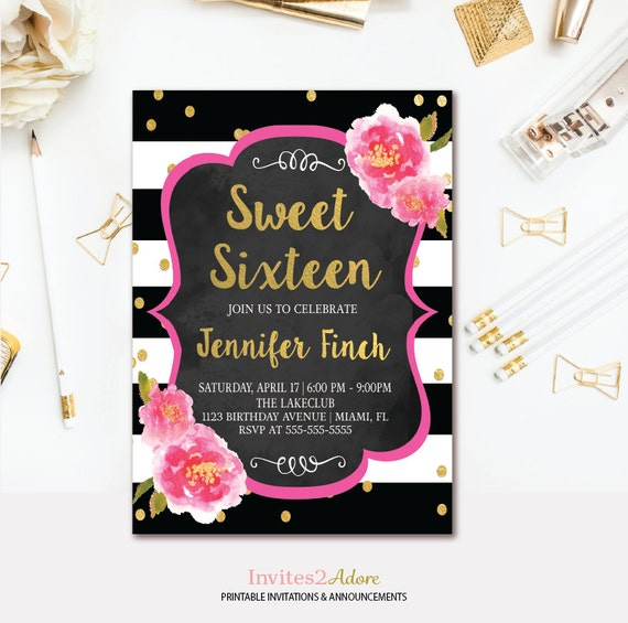 floral sweet 16 invitation black white stripe sweet sixteen