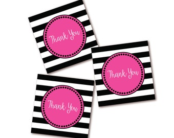 Black White & Pink Thank You Tags - Stripe Favor Tag - Instant Download - Printable
