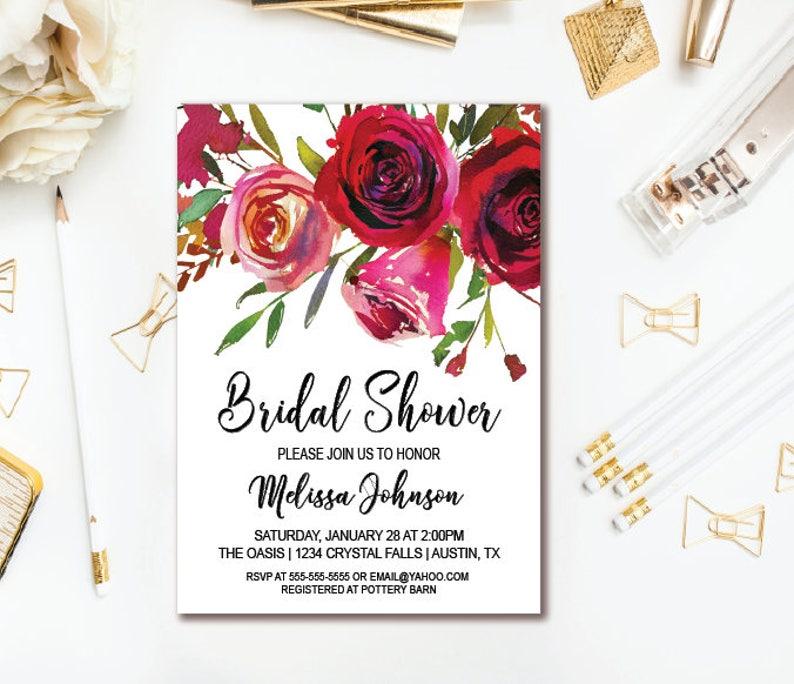 8863396e13f1 Invitación despedida de soltera de rosas rojas acuarela