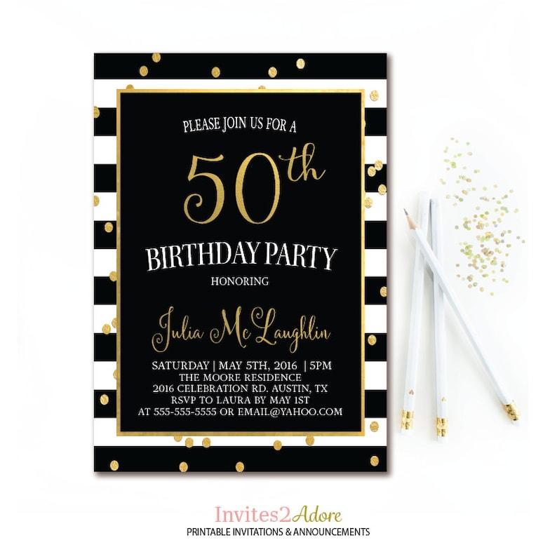 Black White Stripe Birthday Invitation Gold Confetti
