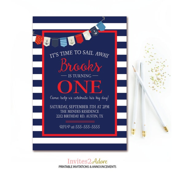 Nautical Birthday Invitation Anchor Boys 1st Party