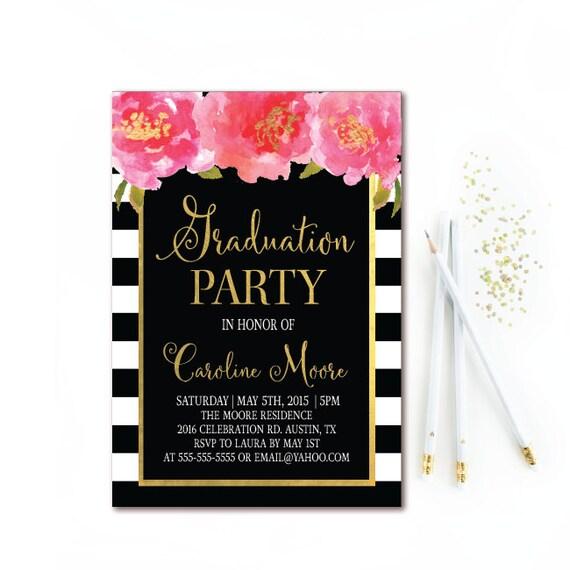 Black white stripe graduation invitation floral graduation etsy image 0 filmwisefo