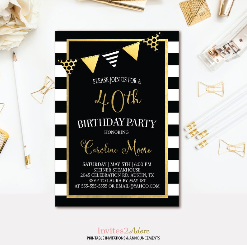 Black White Stripe Birthday Invitation And