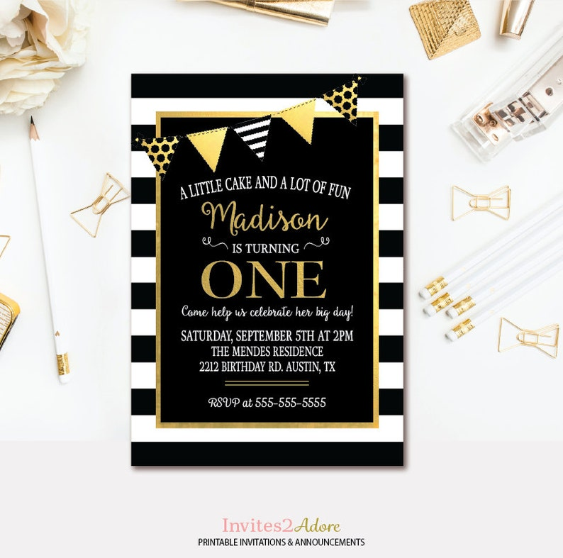 1st Birthday Invitation Black White Stripes Gold