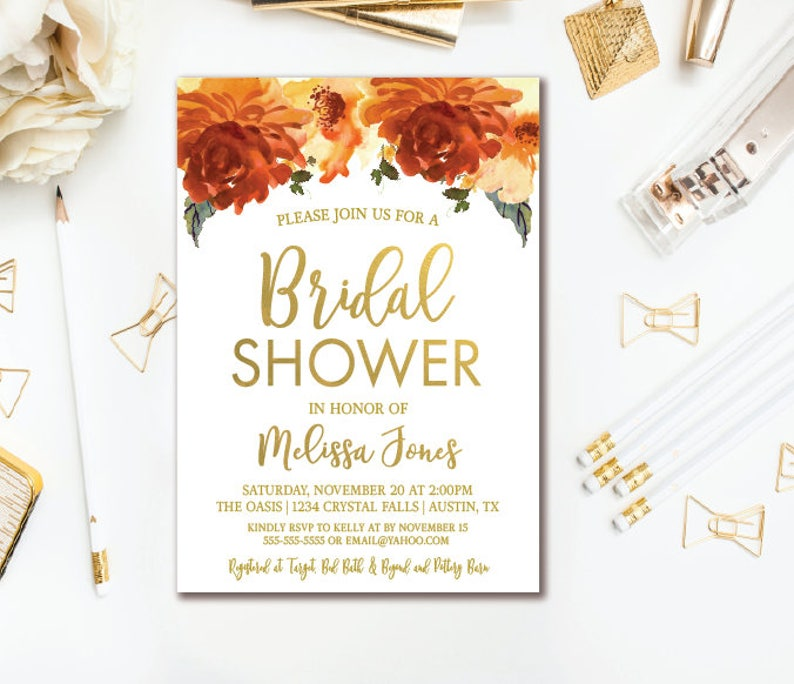 image regarding Bridal Shower Printable Invitations identify Slide Floral Bridal Shower Invitation - Orange Gold Floral Marriage Shower - Printable Invitations