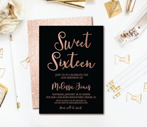 Rose Gold 16th Birthday Invitation