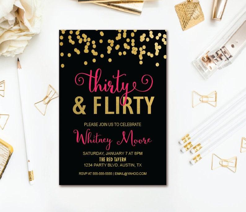 Thirty Flirty Birthday Invitation 30th Party