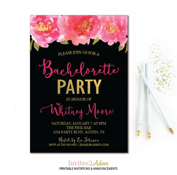 floral bachelorette party invitation black pink gold
