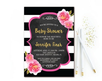 Black & White Stripe Baby Shower Invitation, Pink and Gold Watercolor Florals, Girl Baby Shower Printable Invite