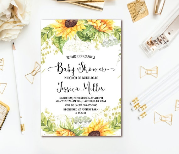 Sunflower Baby Shower Invitation Country Rustic Baby Shower