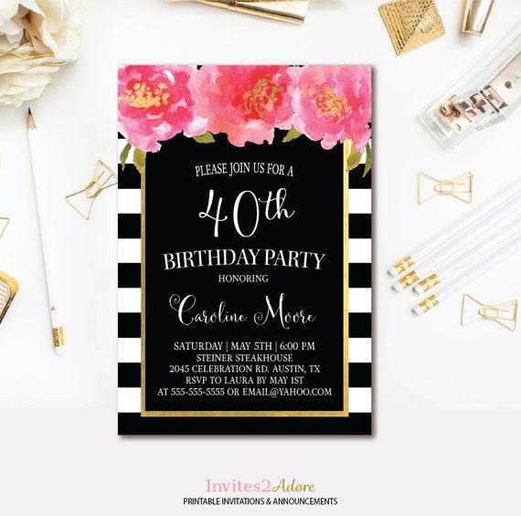 Black White Stripe Birthday Invitation Pink And