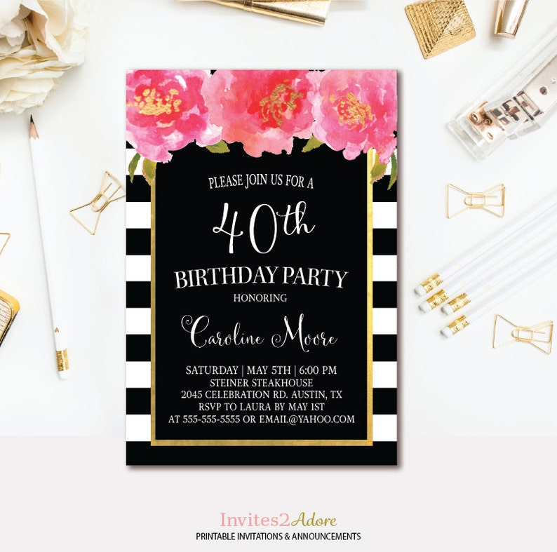 Black White Stripe Birthday Invitation Pink And