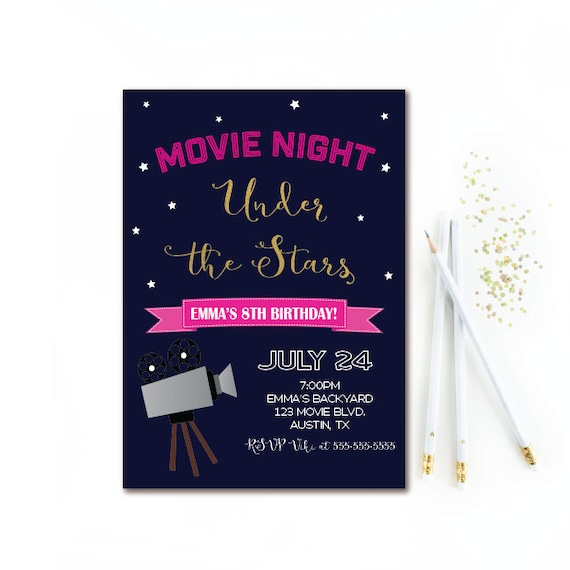 Movie Night Birthday Invitation Outdoor Movie Party Girl