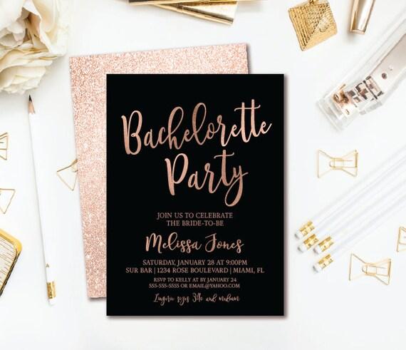 Rose Gold Bachelorette Party Invitation Black Rose Gold Etsy