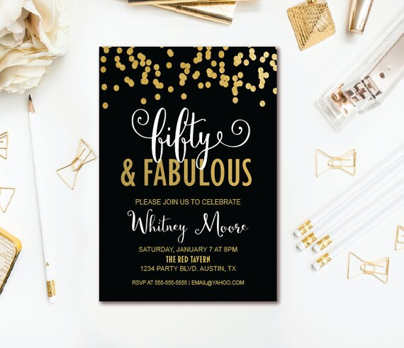 Fifty Fabulous Birthday Invitation