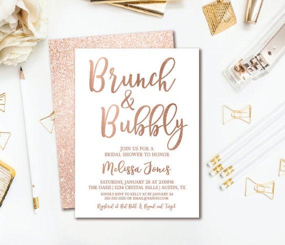 Brunch & Bubbly Bridal Shower Invitation Rose Gold Glitter