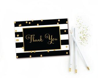 Black & White Stripe Gold Confetti Thank You Card - INSTANT DOWNLOAD