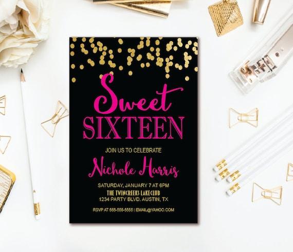 Confetti Sweet Sixteen Party Invitation
