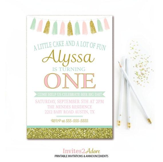 mint pink gold birthday invitation tassel birthday party