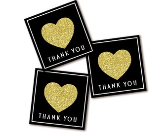 Black & Gold Thank You Tags - Party Favor Tag or Sticker - Gold Glitter Heart - Instant Download - Printable
