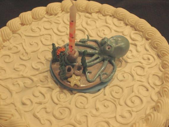 Stupendous Octopus Birthday Cake Topper Etsy Funny Birthday Cards Online Inifodamsfinfo