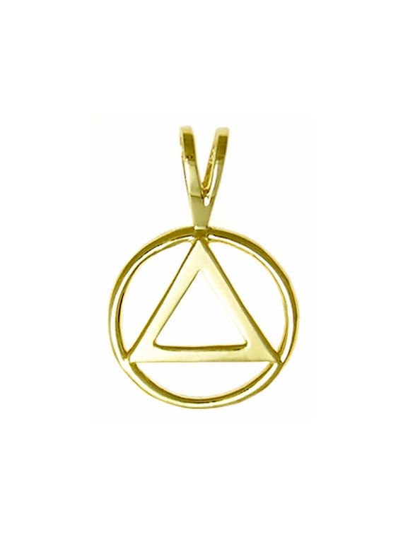 Brass Size #1066 Med AA Alcoholics Anonymous Handcrafted Symbol Pendant