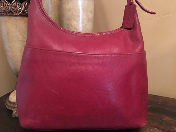 Vintage 1990s COACH Red Hobo Handbag Adjustable St