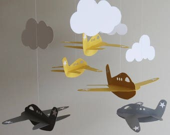 Airplane Mobile - Baby Mobile, Nursery Mobile, Yellow Airplanes, Boy Mobile, Hanging Mobile, Cloud Mobile, Aviation Mobile.