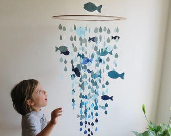 Large Fish Mobile - Nursery Mobile, Baby Mobile, Blue Fish, Hanging Mobile, Raindrop Mobile, Ocean Theme, Nautical Nursery.