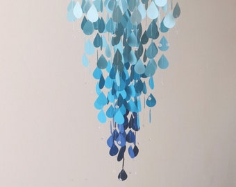 Raindrop Mobile - Nursery Mobile, Hanging Mobile, Home Decor, Baby Mobile, Mothers Day Gift, Blue Mobile, Light Blue Mobile, Gifts For Her