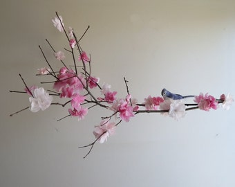 Flower Mobile - Cherry Blossom Mobile, Hanging Mobile, Nursery Mobile, Baby Mobile, Pink Mobile, Bird Branch Mobile, Mothers Day Gift