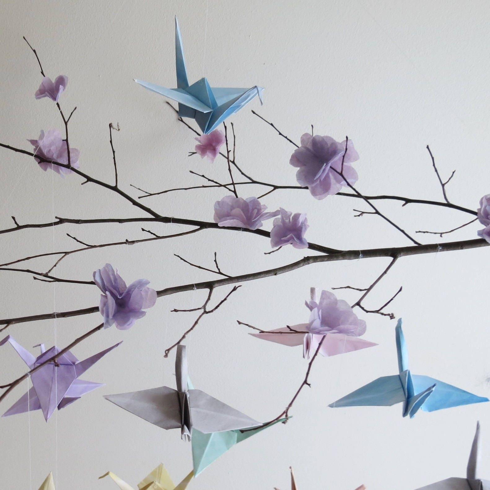 Origami Crane Mobile Nursery Birds Baby