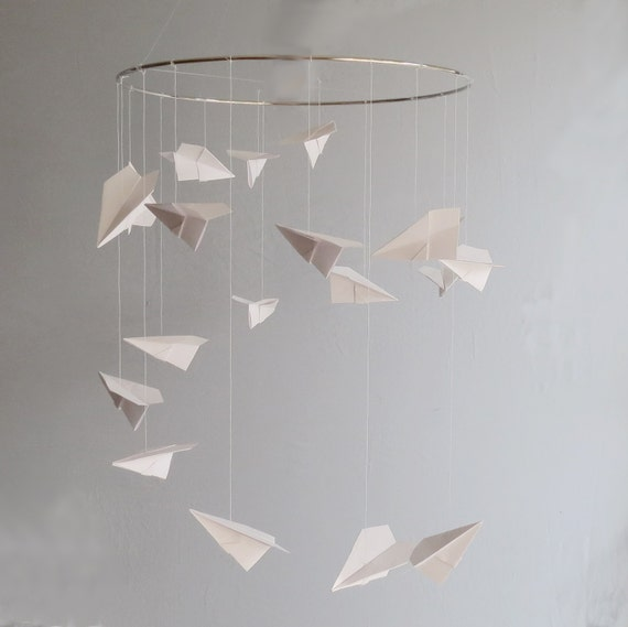 Airplane Mobile Origami Mobile Nursery Mobile Hanging Etsy
