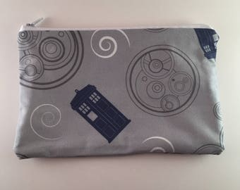 Doctor Who (Lg) inspired zipper pouch / Doctor Who zipper pouch / Doctor Who pouch / Tardis design / Tardis zipper pouch / zipper pouch