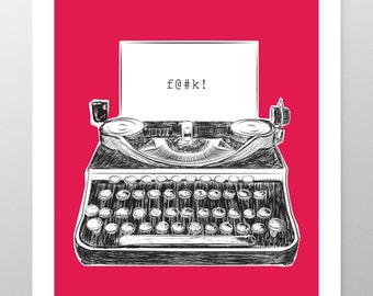 F@#k!, Funny Typewriter Illustration Print, Fuchsia Background