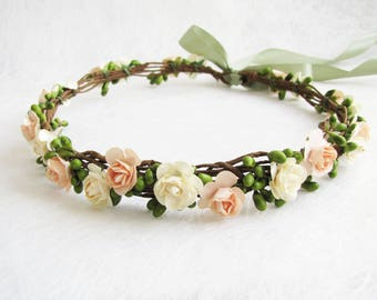 Peach flower crown  3a26a594072